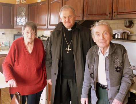 Bishop Brendan with Mary and Bill in Moygara in February 2009