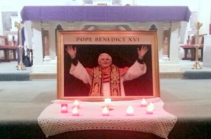 Photo of Pope Benedict XVI before the Altar for Morning Mass in Kilmovee