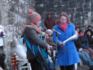 Sarah singing at the Dawn Mass in Urlaur on Easter Sunday Morning